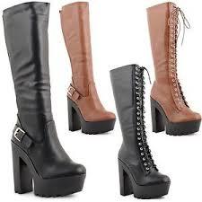 s high boots uk womens chunky high heel platform knee high biker