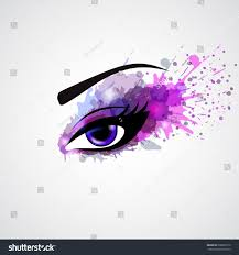 grunge make eye violet color fashion stock vector 208028176