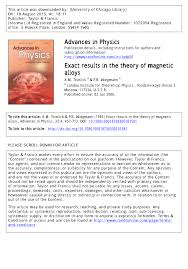 exact results in the theory of magnetic alloys