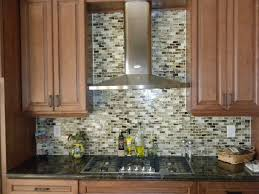 deep finished wooden cabinet and stylish glass mosaic tile