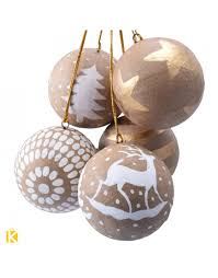 crafted brown paper mache christmas balls set of 3