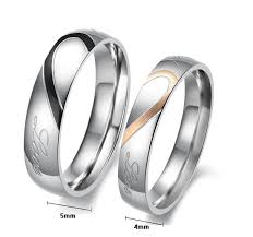 matching titanium wedding bands wish heart shape matching titanium promise ring for 316l