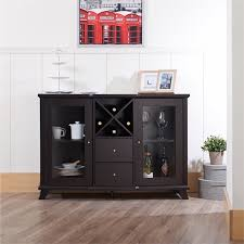 furniture of america anglex wine rack buffet in cappuccino idi 13835