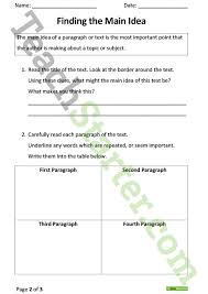 finding the main idea comprehension task thunderstorms