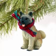 cats and dogs akita ornament