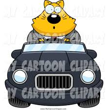 cartoon convertible car clip art of a surprised business ginger cat driving a convertible