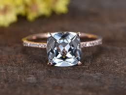 cushion ring 2 2 carat cushion cut aquamarine diamond engagement ring 14k