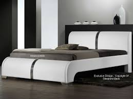 Modern Leather Bed White Faux Leather Ebony Bed Frame Ft Double - White faux leather bedroom furniture