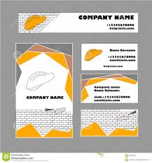 set of business card template for construction business stock