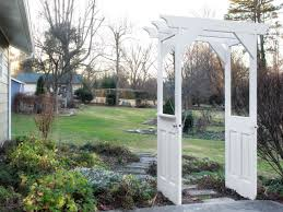 how to build a trellis archway make a garden arbor from old wooden doors how tos diy