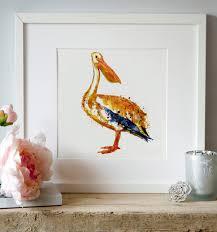 pelican watercolor painting wall art printable art pelican art