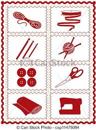 vector of sewing knit crochet craft icons tools and supplies