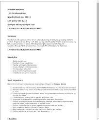 sample resume for nursing assistant position sample resume