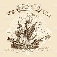 old caravel vintage sailboat ancient ship hand drawn vector sketch
