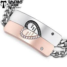 his and hers engraved bracelets teamo his and hers bracelets black white cz diamond heart tag