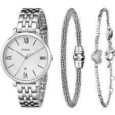 fossil silver bracelet images Fossil women 39 s es3698set jacqueline three hand stainless steel jpg