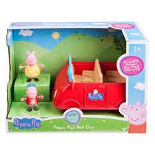peppa pig u0027s red car playset 2 exclusive figures toys