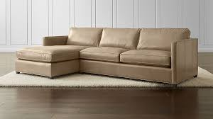 Leather Chaise Couch Dryden Leather 2 Piece Left Arm Chaise Sectional Crate And Barrel