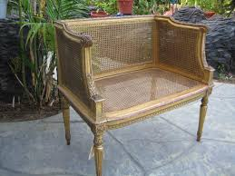 antique french gold leaf bench with caned seat replaced from cane
