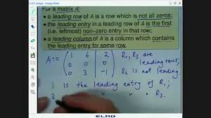 leading matrices leading rows and leading columns youtube