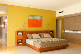 Beautiful Orange Color Wall Wood Simple Design Small Be Equipped - Bedroom orange paint ideas