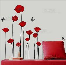 RED POPPY Removable Wall Decals Home Decor Art Flower Vinyl Mural - Poppy wallpaper home interior