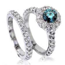 blue diamond wedding rings 1 85ct blue diamond halo engagement matching wedding ring band