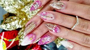pink white u0026 gold glittered acrylic nails tutorial nail art