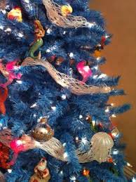 blue tree decor deco mesh no ornaments fleur de lis