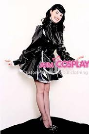 new arrival sissy maid dress lockable pvc dress maid uniform