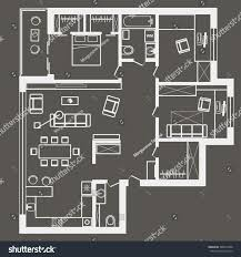 Three Bedroom Apartments Linear Architectural Sketch Plan Three Bedroom Stock Vector