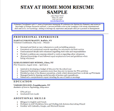 Samples Of Resume Formats by Stay At Home Mom Resume Sample U0026 Writing Tips Resume Companion