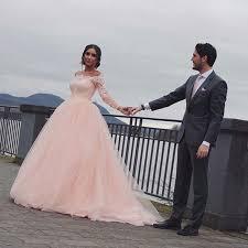 Pink Wedding Dresses With Sleeves Aliexpress Com Buy Saudi Arabia Stylish Blush Pink Wedding Dress