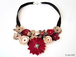 leather flower necklace images Red and ivory leather flowers statement necklace 100 ron 24 JPG