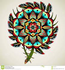 old tattoo flower stock vector image of feathers 64333191
