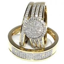 his and wedding rings his and bridal rings set trio 0 65ct 10k yellow gold halo
