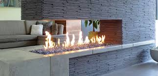 eye catcher patio landscape with modern outdoor fireplace wood