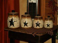 primitive kitchen canister sets handpainted primitive kitchen decor set by primitivestardecor