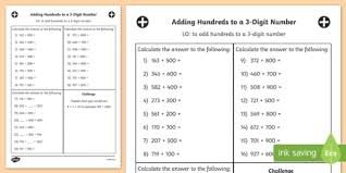 adding 3 numbers hundreds to a 3 digit number worksheet year 3 adding