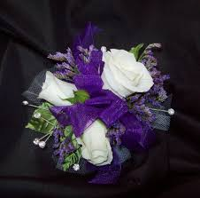 purple corsage homecoming
