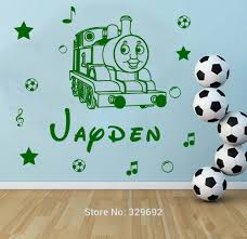 compare prices on thomas train cartoon online shopping buy low free shipping personalised name thomas the train kids wall sticker vinyl decal for children nursery room