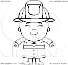 cartoon clipart of a black and white happy fire fighter boy