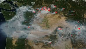 Satellite Map Of Washington State by Nasa Satellite View Of Washington State Yesterday With Wildfires