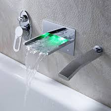 Tub Faucet Wall Mount Led Waterfall Tub Faucet With Pull Out Hand Shower Wall Mount