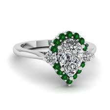 teardrop engagement rings teardrop halo diamond low engagement ring with emerald in 950