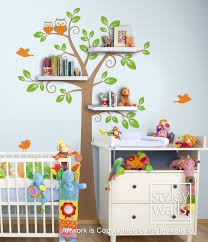 Shelves Tree Decal Children Wall Decal Shelf Tree Wall Decal For - Kids rooms decals