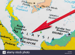 Continent Of Asia Map by Red Arrow Pointing Malaysia On The Map Of Asia Continent Stock