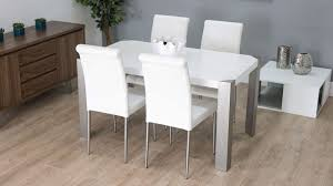 White Modern Dining Chairs Modern White Gloss Dining Table With Real Leather Dining Chairs
