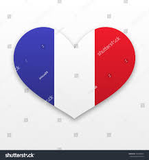 French Flag Banner French Symbol Heart Flag Country France Stock Vector 343268834