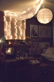 bedroom snowflake string lights with decorative hanging lights